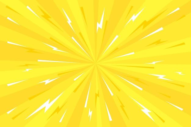 Gelbe comic-tapete des flachen designs
