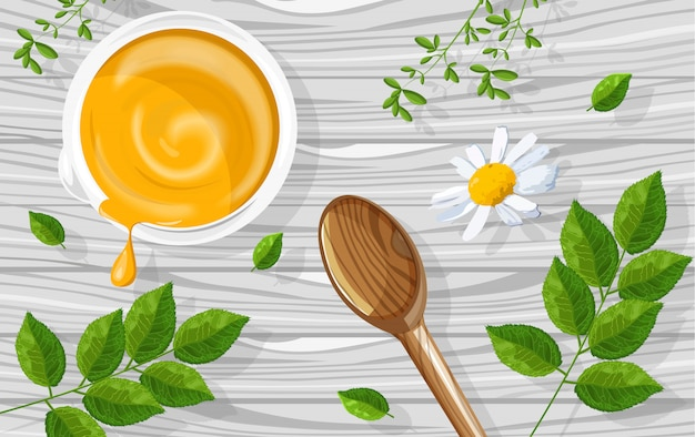 Gelbe creme der natürlichen kräuterkosmetik