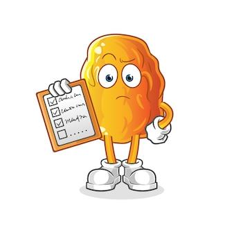 Gelbe datumsplanliste zeichentrickfigur