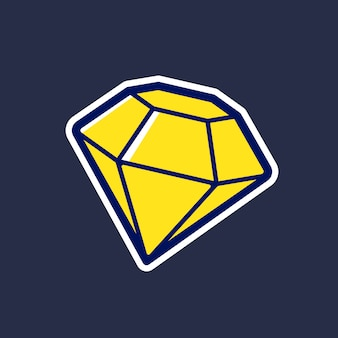 Gelbe diamantvektorikone in der karikaturart