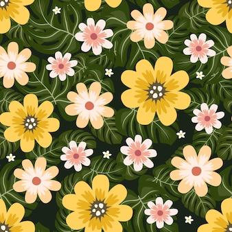 Gelbe dschungelblumen winden efeuart mit niederlassung und blättern, nahtloses muster