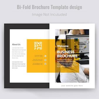 Gelbe einfache bi falte broschüren-schablone