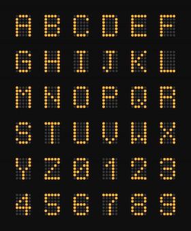 Gelbe elektronische großbuchstaben des alphabets auf realistischer zusammensetzung und zahlenillustration des schwarzen flughafenbretts