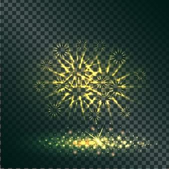 Gelbe explosion der pyrotechnik auf transparentem