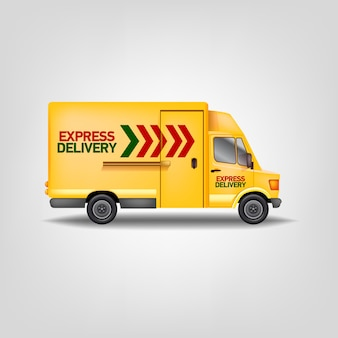Gelbe express-lieferwagen der realistischen illustration. logistikservice lkw-vorlage