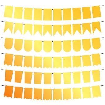 Gelbe fahnen und girlanden zur dekoration. dekorelemente mit verschiedenen mustern. vektor-illustration