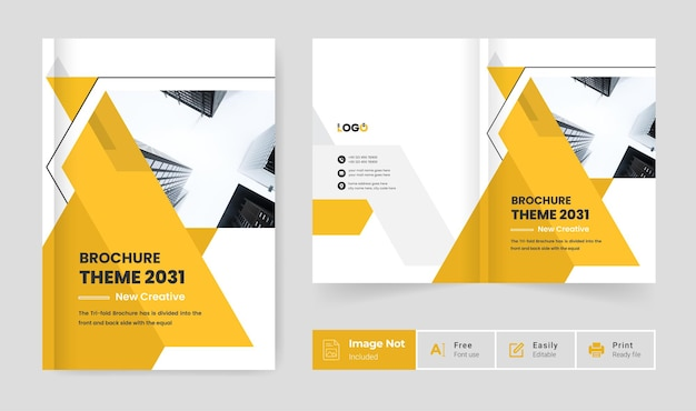 Gelbe farbe kreative geschäftsbroschüre designvorlage firmenprofil deckblatt präsentation