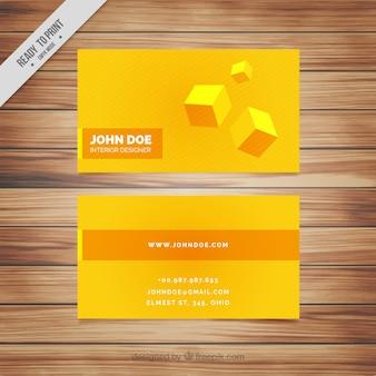 Gelbe firmenkarte mit würfeln