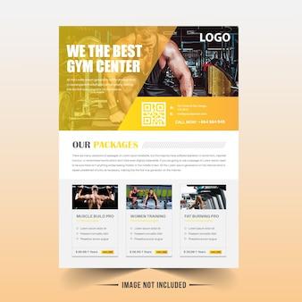 Gelbe fitness / gym flyer vorlage