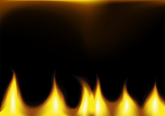 Gelbe flammen auf dunklem hintergrund