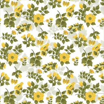 Gelbe flora tapete und hintergrund