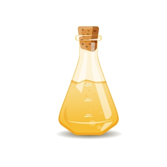 Gelbe flüssigkeit in der flasche