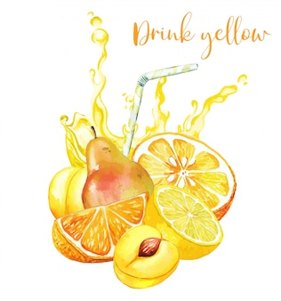 Gelbe fruchtzusammensetzung mit gelbem saftspritzer