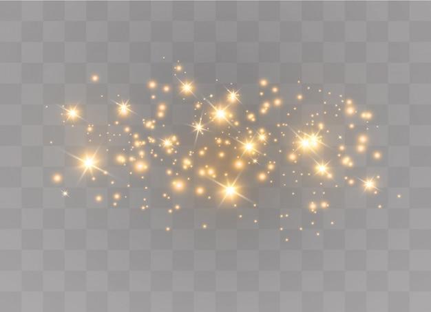 Gelbe funken glitzern besonderen lichteffekt. funkelt auf transparentem hintergrund. abstraktes weihnachtsmuster. funkelnde magische staubpartikel