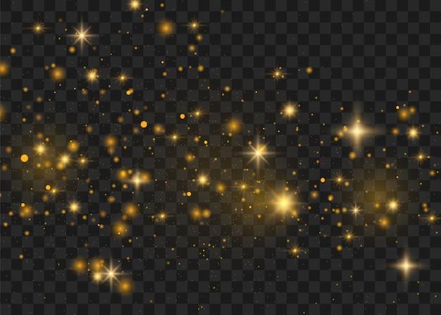 Gelbe funken glitzern besonderen lichteffekt. funkelt auf transparentem hintergrund. abstraktes weihnachtsmuster. funkelnde magische staubpartikel -