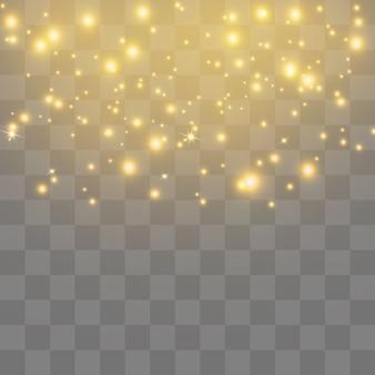 Gelbe funken und goldene sterne funkeln mit einem besonderen lichteffekt. funkelnde partikel aus feenstaub. glitzert auf einem transparenten hintergrund.