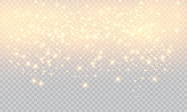 Gelbe funken und goldene sterne leuchten