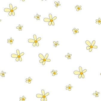 Gelbe gänseblümchenblumen auf weißem hintergrundvektorblumennahtloses muster für minimalistisches design. vektor-blumen-clipart-textilien, geschenkpapier, frühlingskarten und muster.