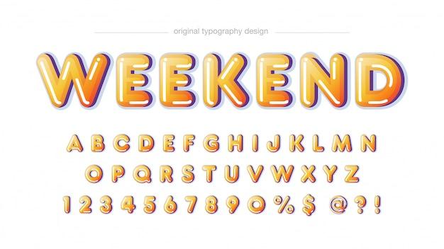 Gelbe gerundete mutige typografie
