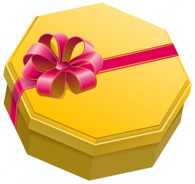 Gelbe geschenkbox mit band und bogen