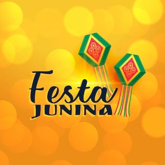 Gelbe glänzende festa junina lampen