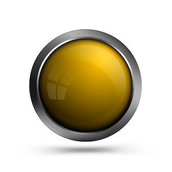 Gelbe glänzende runde taste mit metallrahmen