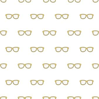 Gelbe gläser nahtloses muster auf einem weißen hintergrund. brillen-thema-vektor-illustration