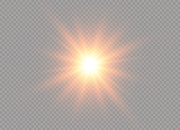 Gelbe glühende lichtstoßexplosion auf transparentem hintergrund. illustration lichteffektdekoration mit strahl. heller stern. durchscheinende sonnenschein, helles aufflackern. leuchtender blitz in der mitte