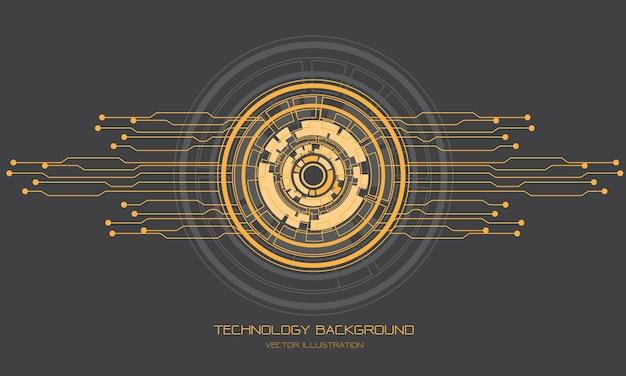 Gelbe graue kreis-cyberschaltungslinie der abstrakten technologie futuristisches design moderne hintergrundillustration.