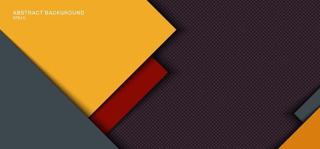 Gelbe graue quadratische überlappungsschicht des bannerwebschablonenentwurfs mit roten streifen mit schatten auf gitterhintergrund. vektorillustration