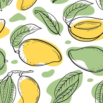 Gelbe grüne mango nahtloses muster