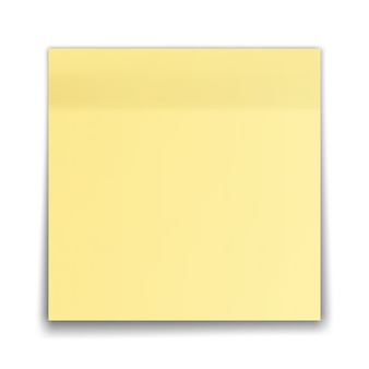 Gelbe haftnotiz lokalisiert auf weißem hintergrund.