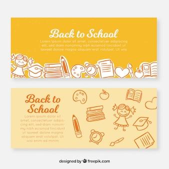Gelbe hand zurück zu schule banner gezogen
