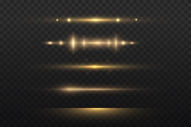 Gelbe horizontale fackel. laserstrahlen, horizontale lichtstrahlen.