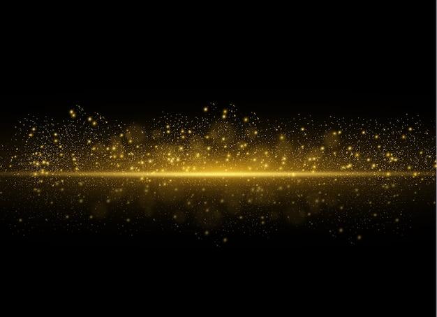 Gelbe horizontale laserstrahlen, horizontale lichtstrahlen. leuchtendes abstraktes funkeln.
