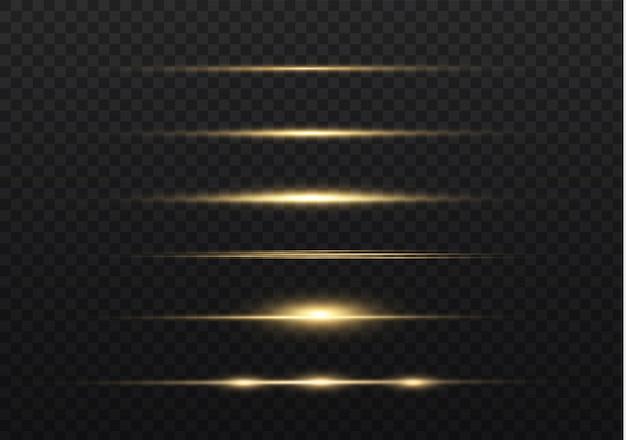 Gelbe horizontale linseneffektpackung. laserstrahlen, horizontale lichtstrahlen. lichtfackeln.