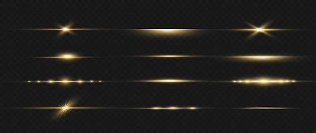 Gelbe horizontale linseneffektpackung. laserstrahlen, horizontale lichtstrahlen. schöne lichtfackeln. leuchtende streifen auf dunklem hintergrund. leuchtender abstrakter funkelnder gezeichneter hintergrund.