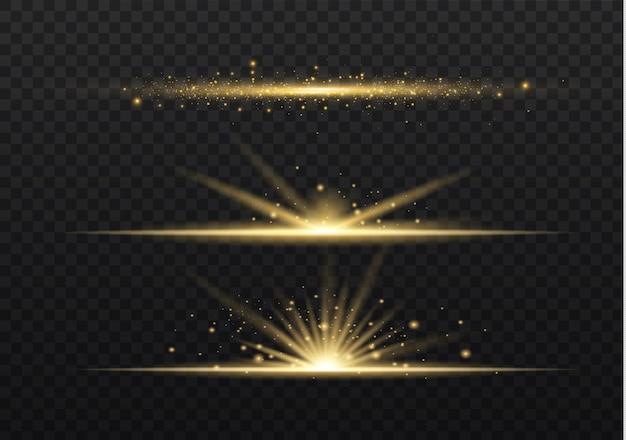 Gelbe horizontale linseneffektpackung. laserstrahlen, horizontale lichtstrahlen.
