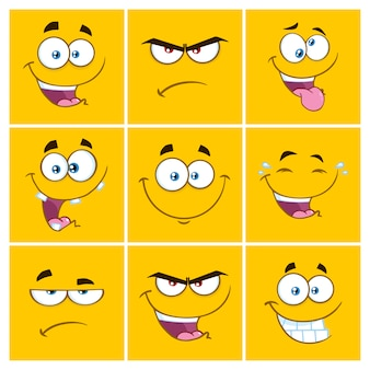 Gelbe karikatur-quadrat-emoticons mit ausdruckssatz