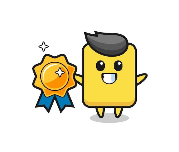 Gelbe kartenmaskottchenillustration, die ein goldenes abzeichen, niedliches stildesign für t-shirt, aufkleber, logoelement hält