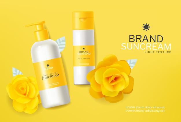 Gelbe kosmetik sonnenschutzlotion vektor realistisch. produktplatzierungsmodelle