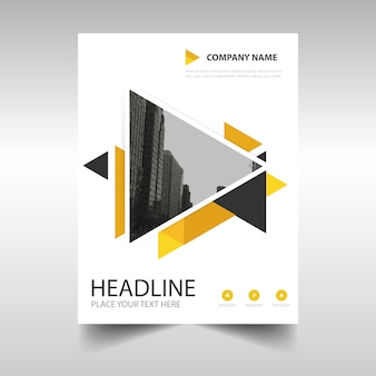 Gelbe kreative jahresbericht bucheinbandes vorlage