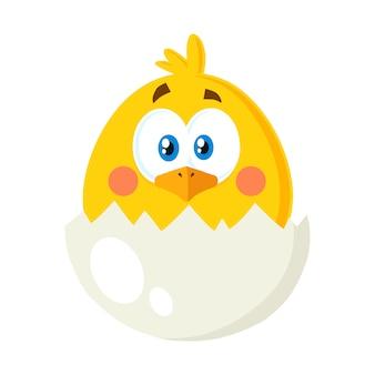 Gelbe küken-zeichentrickfilm-figur aus einer eierschale heraus. vektor-illustration wohnung isoliert