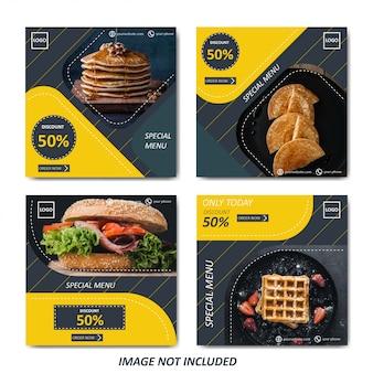 Gelbe lebensmittel- und kulinarische verkaufsschablone für social media geben bekannt