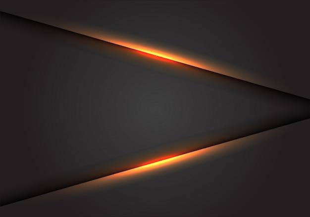 Gelbe lichtlinie auf dunkelgrauem leerzeichenhintergrund.