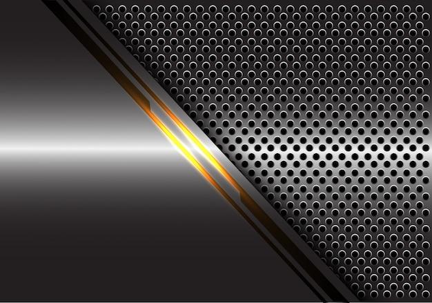 Gelbe lichtlinie energie auf grauem metallkreis-maschenhintergrund.
