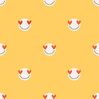 Gelbe liebe steht vor nahtlosem muster