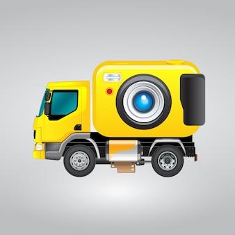 Gelbe lkw-kamera-design