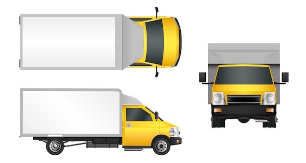 Gelbe lkw-vorlage. lieferung von nutzfahrzeugen in der stadt.