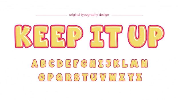 Gelbe luftblasen-karikatur-typografie